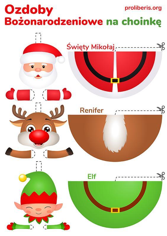 Wycinanki do wydruku dla dzieci - ozdoby świąteczne