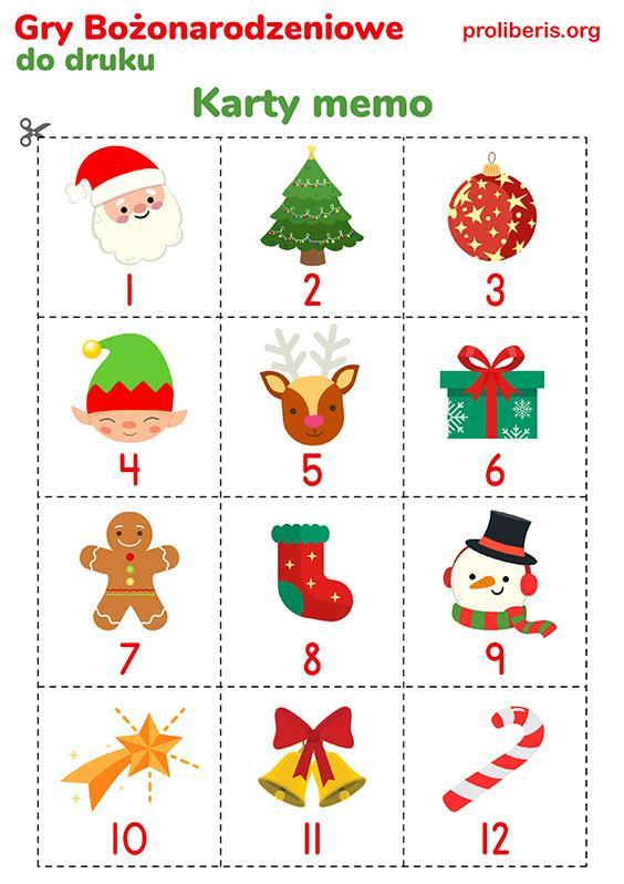 Gry Świąteczne do druku - karty memo