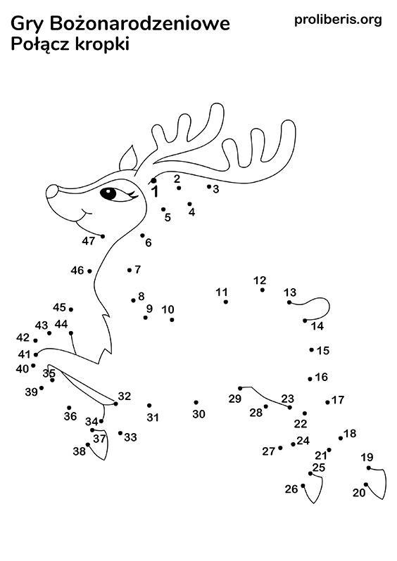 Gry Świąteczne do druku - połącz kropki