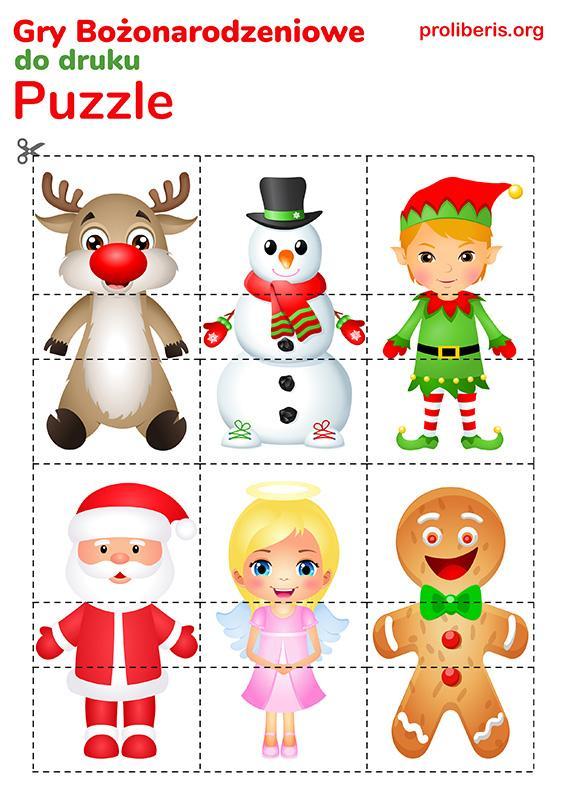 Gry Świąteczne do druku - puzzle