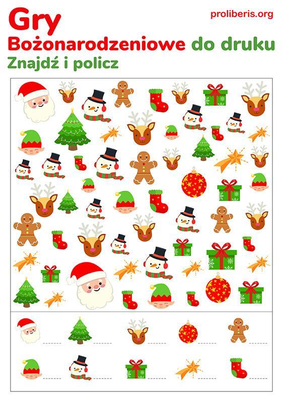 Gry Świąteczne do druku - znajdź i policz
