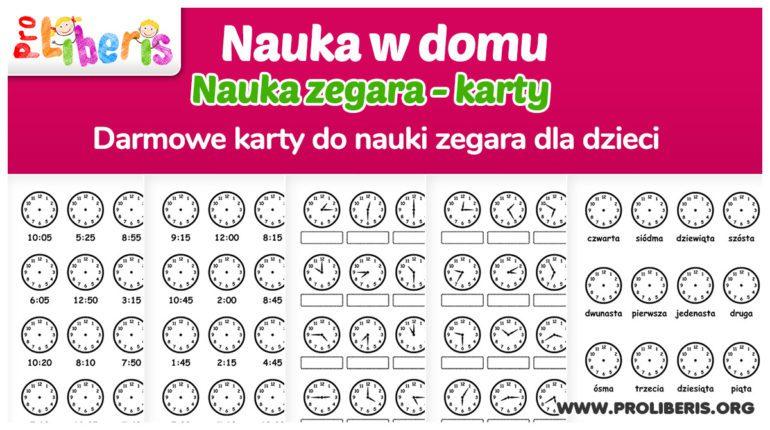nauka zegara dla dzieci do druku